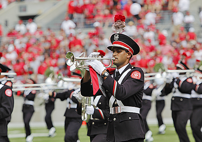 An OSU Marching Band member plays during the OSU game against Buffalo Aug. 31 at Ohio Stadium. Credit: Ritika Shah / Asst. photo editor