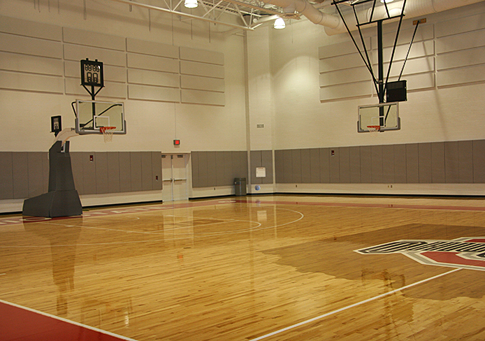 A new practice court at the Schottenstein Center. The new $19 million OSU basketball facilities were unveiled to the media Sept. 3. Credit: Eric Seger / Sports editor