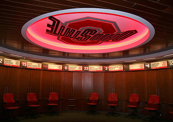 The new men's locker room at the Schottenstein Center was unveiled to the media Sept. 3. Credit: Eric Seger / Sports editor