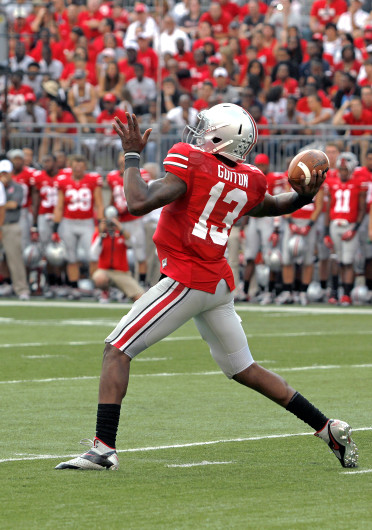 Redshirt-senior quarterback Kenny Guiton throws a pass during a game against San Diego State Sept. 7, at Ohio Stadium. OSU won, 42-7.