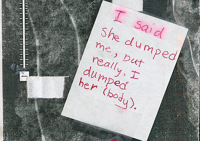 A postcard posted on PostSecret's website Aug. 31 appeared to confess a murder.  Credit: Courtesy of PostSecret