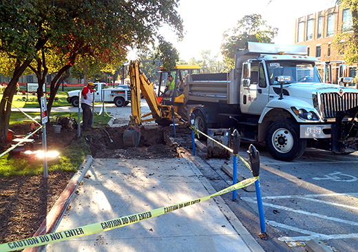 A section of 12th Avenue where a water line broke Sept. 14. Credit: daniel bendtsen / Lantern reporter