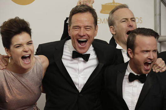 Betsy Brandt (left), Bryan Cranston, Bob Odenkirk and Aaron Paul of AMC's 'Breaking Bad' at the 65th Annual Primetime Emmy Awards. 'Breaking Bad' won an outstanding overall award at the show.  Credit: Courtesy of MCT