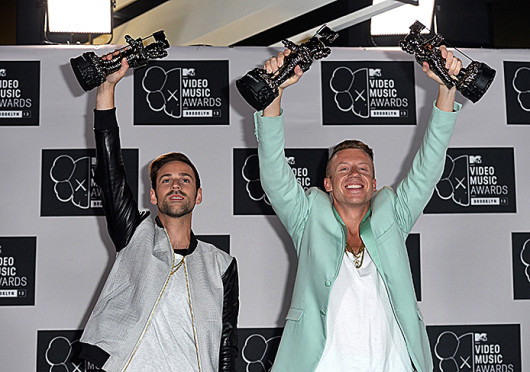 an Lewis and Macklemore win best hip-hop video and best video with a social message at the 2013 MTV Video Music Awards at The Barclay Center in New York City Aug. 25, 2013