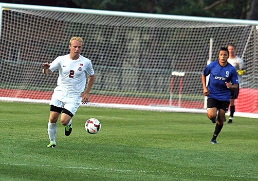 Freshman defender Craig Zahour (2) controls the ball during a match against IPFW Aug. 20, at Jesse Owens Memorial Field. OSU won, 2-0. Credit: Shelby Lum / Photo editor
