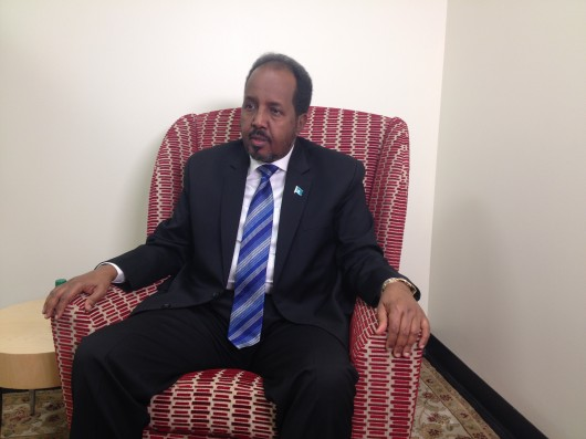 President of Somalia Hassan Sheikh Mohamoud speaks in the Ohio Union Sept. 23.  Credit: Caitlin Essig / Managing editor for content