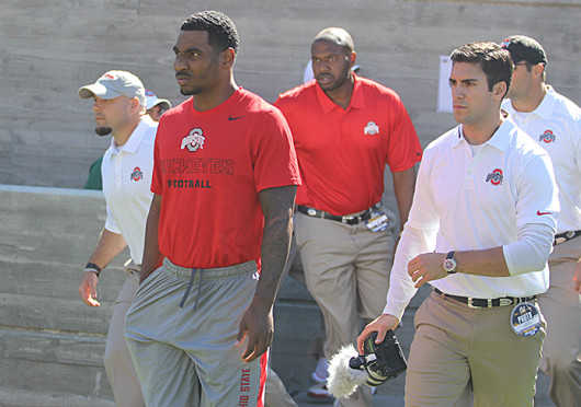 Junior quarterback Braxton Miller walks out with the team during a game against California Sept. 14, at California Memorial Stadium. OSU won, 52-34. Credit: Eric Seger / Sports editor