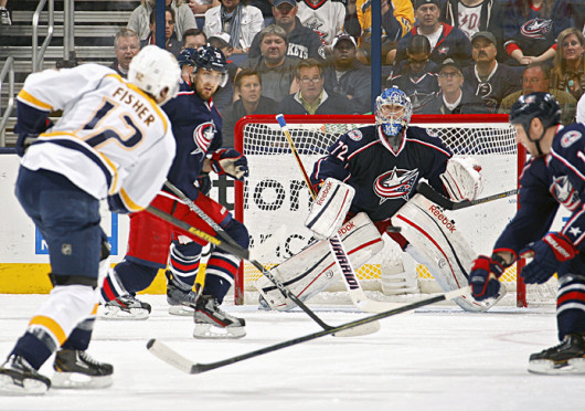 Columbus Blue Jackets goalie Sergei Bobrovsky (72) watches the shot of the Nashville Predators' Mike Fisher (12) in the first period at Nationwide Arena in Columbus, Ohio, on Saturday, April 27, 2013. Credit: Courtesy of MCT