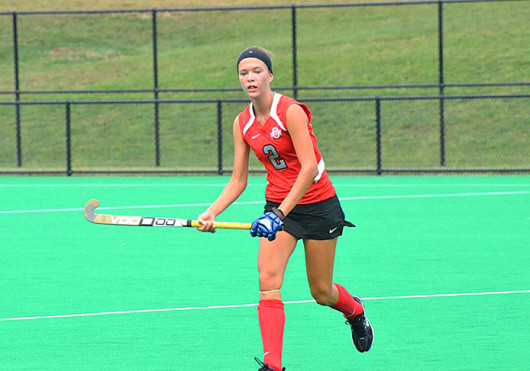 Freshman midfielder Paige Hamilton looks for the ball during a game against New Hampshire, at Buckeye Varsity Field. OSU won, 3-2.
