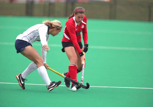Then-senior Berta Queralt (18) battles for the ball during a game against Penn State Oct. 19, 2012, at Buckeye Varsity Field. OSU lost, 3-0. Credit: Courtesy of Facebook