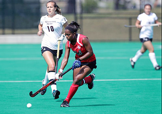 Senior midfielder Arielle Cowie plays the ball forward during a game against Missouri State Sept. 6 at Buckeye Varsity Field. OSU won, 5-1. Credit: Courtesy of Facebook