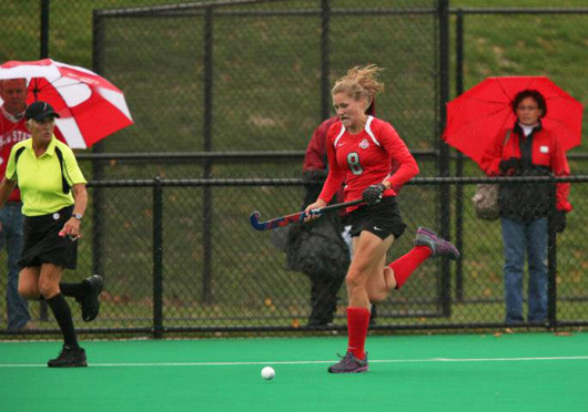 Then-sophomore midfielder Mona Frommhold plays the ball during a game against Penn State Oct. 19, 2012, at Buckeye Varsity Field. OSU lost, 3-0. Credit: Courtesy of Facebook