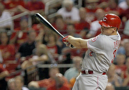 Cincinnati Reds' Jay Bruce hit s a home run during the second inning against the St. Louis Cardinals at Busch Stadium in St. Louis, Missouri, Wednesday, August 28, 2013. Credit: Courtesy of MCT