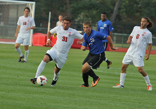 Junior midfielder Max Moller beats his defender during a match against IPFW Aug. 20, at Jesse Owens Memorial Stadium. OSU won, 2-0.