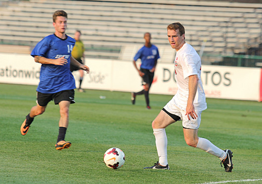 Senior forward Denio Leone (15) controls the ball during a match against IPFW Aug. 20, at Jesse Owens Memorial Stadium. OSU won, 2-0. Credit: Shelby Lum / Photo editor