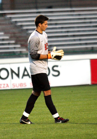Junior goalkeeper Alex Ivanov patrols the penalty box during a match against Wright State Sept. 17 at Jesse Owens Memorial Stadium. The teams tied 0-0. Ivanov received a red card against the Raiders, and cannot play against Dayton. Credit: Shelby Lum / Photo editor