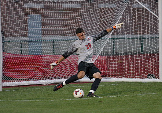 Ohio State junior goalkeeper Alex Ivanov kicks the ball in a game against Wright State Sept. 17 at Jesse Owens Memorial Stadium. OSU and WSU tied, 0-0 in double overtime