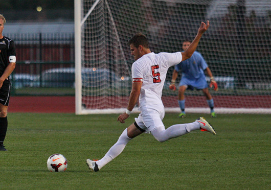 Senior defender Sage Gardener (5) takes a free kick during a match against Wright State Sept. 17 at Jesse Owens Memorial Stadium. The teams tied, 1-1.
