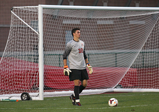 Junior goalkeeper Alex Ivanov prepares to take a goal kick during a match against Wright State Sept. 17 at Jesse Owens Memorial Stadium. The teams tied, 0-0.