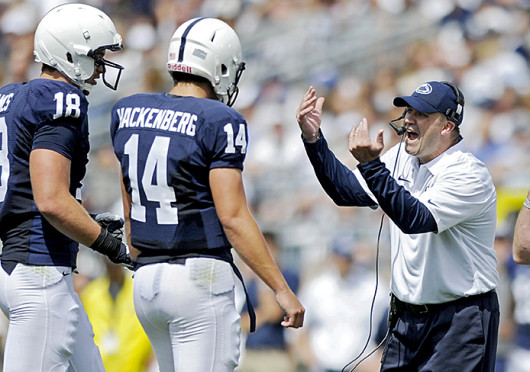 Penn State football coach Bill O'Brien instructs his players during a game against Eastern Michigan Sept. 7 at Beaver Stadium. PSU won, 45-7. Credit: Courtesy of MCT