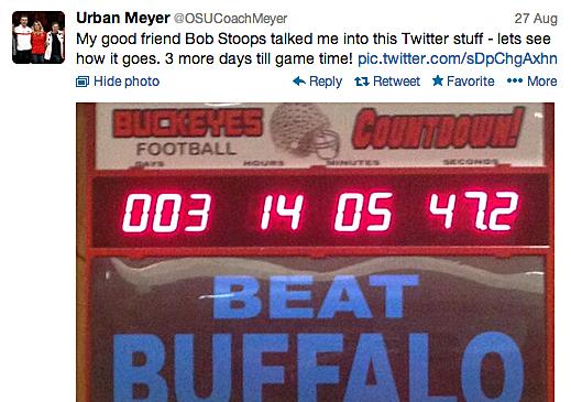Urban Meyer's first tweet sent on Aug. 27.