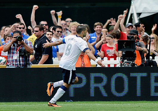 U.S. midfielder Clint Dempsey celebrates a goal during a match against Germany June 2, at RFK Stadium. The U.S. won, 4-3. Credit: Courtesy of MCT