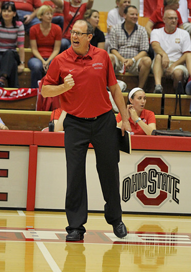 Women's volleyball coach Geoff Carlston directs his team during a match against Dabrowa Sept. 4, at St. John Arena. OSU won, 3-2. Credit: Shelby Lum / Photo editor