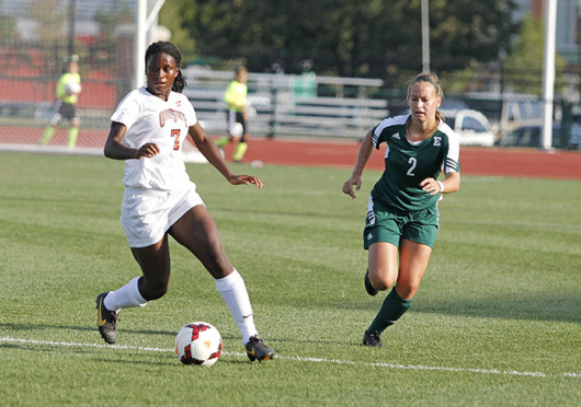 Freshman forward Nichelle Prince (7) looks for an open teammate during a match against Eastern Michigan Aug. 25, at Jesse Owens Memorial Stadium. OSU won, 2-1. Credit: Shelby Lum / Photo editor