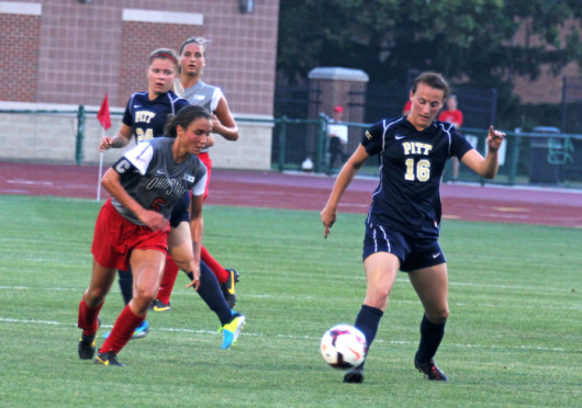 Junior midfielder Ellyn Gruber (5) attempts to win the ball during a match against Pittsburgh Aug. 28 at Jesse Owens Memorial Stadium. OSU won, 2-0. Credit: Shelby Lum / Photo editor
