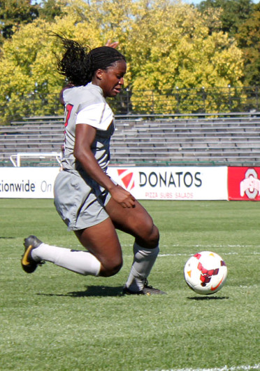 Freshman forward Nichelle Prince (7) looks for a shot during a match against Indiana Sept. 26 at Jesse Owens Memorial Stadium. OSU won, 3-1. Credit: Ryan Robey / For The Lantern