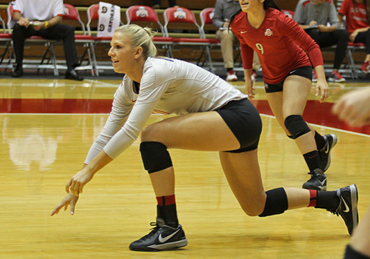 Senior outside hitter Kaitlyn Leary goes down for a dig during a match against Dabrowa Sept. 4 at St. John Arena. OSU won, 3-2. Credit: Shelby Lum / Photo editor