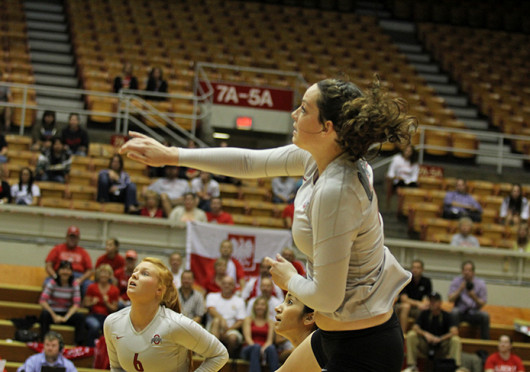Junior outside hitter Erin Sekinger spikes the ball during a match against Dabrowa Sept. 4 at St. John Arena. OSU won, 3-2. Credit: Shelby Lum / Photo editor