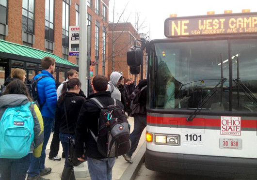 Students board a CABS bus near the Ohio Union. A CABS bus was involved in an accident on West 17th Avenue Tuesday.