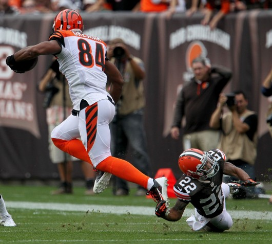 Cleveland Browns defensive back Buster Skrine, right, trips up Cincinnati Bengals wide receiver Jermaine Gresham at FirstEnergy Stadium in Cleveland Sept. 29. The Browns won, 17-6. Credit: Courtesy of MCT
