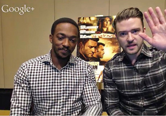 A screenshot of Anthony Mackie (left) and Justin Timberlake during a Google Hangout interview with college media about new movie 'Runner Runner,' which is set to hit theaters nationwide Oct. 4.