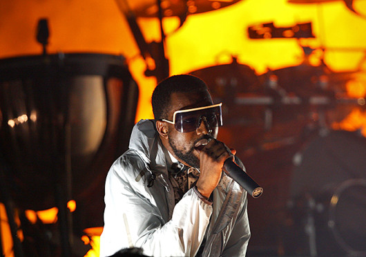 Rapper Kanye West performs. West appeared on 'Jimmy Kimmel Live' Wednesday following a feud between the show host and the rapper.  Credit: Courtesy of MCT