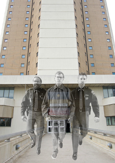 It is rumored that serial killer, Jeffrey Dahmer (center), lived in Morrill Tower during his time at OSU and still haunts the residence.  Credit: Halie Williams / Arts editor, photos courtesy of MCT Photo illustration by Shelby Lum