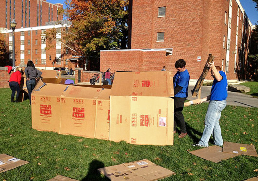 Students work to build shanties during the 2012 Shantytown. The 2013 Shantytown is slated to be held Oct. 12 on the South Oval.  Credit: Courtesy of Johanna Van der Berg