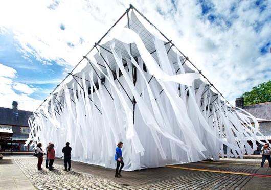 The Willow Theater, a sustainable design created by associate professor of OSU's Department of Theatre Brad Steinmetz, is located in Cardiff, Wales and served as the point of welcome for guests attending the 2013 World Stage Design Festival.  Credit: Courtesy of ALTernative