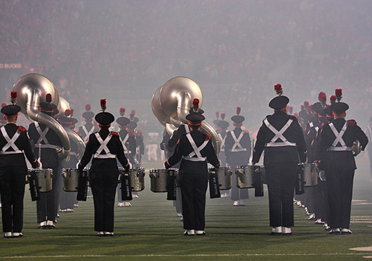The OSU Marching Band performs during halftime at the OSU versus Penn State game Oct. 26 at Ohio Stadium. Credit: Shelby Lum / Photo editor