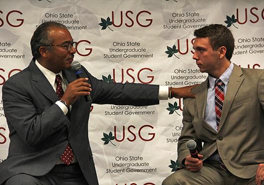 Columbus Mayor Michael Coleman and Undergraduate Student Government President Taylor Stepp speak at a USG meeting Oct. 1. Credit: Ritika Shah / Asst. photo editor