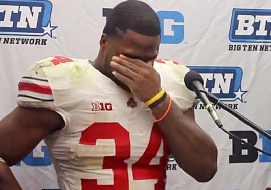 Senior running back Carlos Hyde cries as he meets with the media after a game against Northwestern Oct. 5 at Ryan Field. OSU won, 40-30. Credit: Kaily Cunningham / Multimedia editor