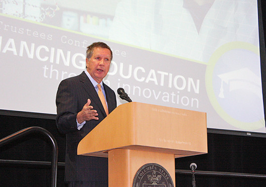 Ohio Gov. John Kasich announced OSU President Emeritus E. Gordon Gee's new higher education initiative Oct. 21 at an Ohio Board of Regents conference at Columbus State Community College. Credit: Andrea Henderson / Asst. multimedia editor