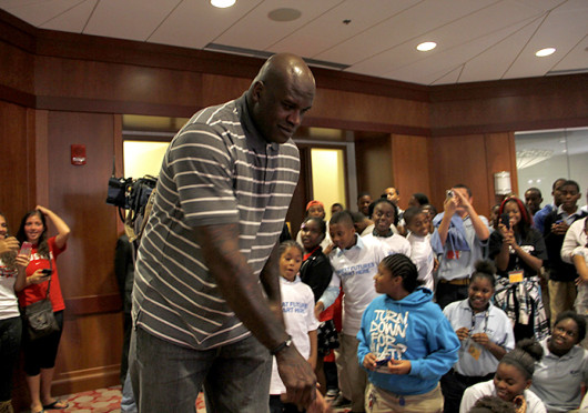 Four-time NBA Champion Shaquille O'Neil speaks at a Boys & Girls Club of Columbus event Oct. 9 at Ohio Union. Credit: Shelby Lum / Photo editor