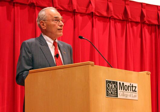 OSU Interim President Joseph Alutto addresses the OSU community at a University Senate meeting Oct. 3 at Moritz College of Law. Credit: Hannah Chenetski / Lantern photographer