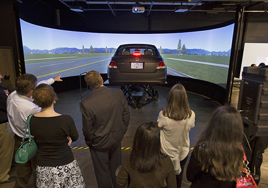 The OSU Driving Simulation Laboratory, located at 1305 Kinnear Road, is set to be used as part of a $4.3M grant to research crash imminent situations and vehicle safety. Credit: Courtesy of Janet Weisenberger