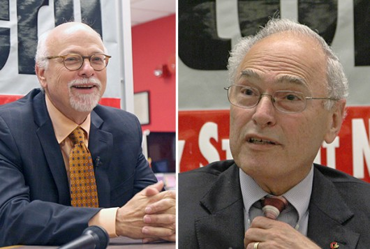 Left: OSU Executive Vice President and Provost Joseph Steinmetz during an interview with The Lantern Oct. 8. Right: OSU Interim President Joseph Alutto during an interview with The Lantern Sept. 23. Credit: Shelby Lum / Photo editor and Ritika Shah / Asst. photo editor