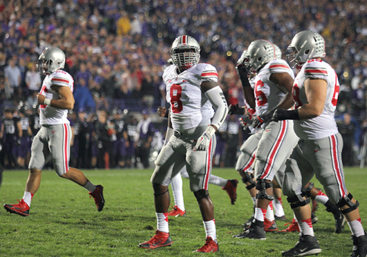Sophomore defensive lineman Noah Spence (8) scans the crowd during a game against Northwestern Oct. 5 at Ryan Field. OSU won, 40-30. Credit: Shelby Lum / Photo editor
