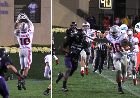 """Senior wide receiver Corey """"Philly"""" Brown (10) catches a pass and looks to break a tackle in a game against Northwestern Oct. 5. OSU won, 40-30. Photo illustration by Shelby Lum"""