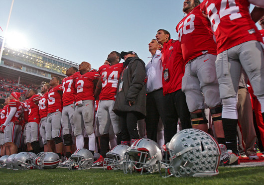 The OSU football team sings 'Carmen Ohio' after a game against Iowa Oct. 19 at Ohio Stadium. OSU won, 34-24. Credit: Shelby Lum / Photo editor